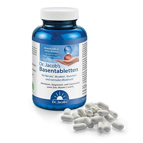 Dr. Jacob's Basentabletten, 250 Tabletten I wenig Natrium, reich an Kalium I für Muskeln, Knochen, Gelenke und Blutdruck I Mineralstoffe Kalium, Calcium, Magnesium, Vitamine C und D I 31 Portionen -