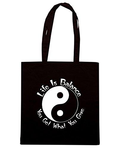 T-Shirtshock - Borsa Shopping TAM0123 life is balance bw hoodie dark Nero