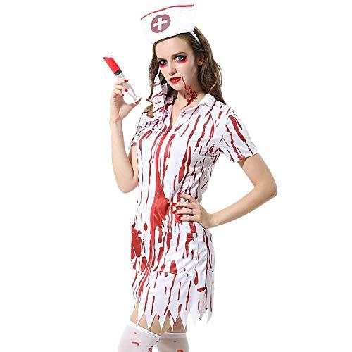 GLXQIJ Zombie Krankenschwester Kostüm Für Erwachsene Bloody Sexy Horror Dress Up, Partykleid, Gesichtsmaske & - Sexy Zombie Krankenschwester Kostüm