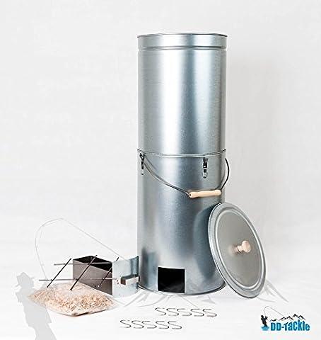 DD-Tackle XXL Tele Räuchertonne 93 cm hoch Ø 33 cm + 500g Buche Räuchermehl Räucherspäne + (Smoker Grill Teile)