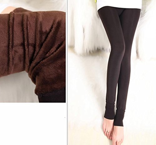 Ouye Damen Winter Fleece Futter Thermo Leggings Braun