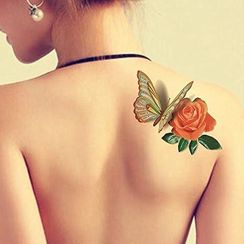 TAFLY 5 Fogli Impermeabile 3d Farfalla Blu Rose Flower Sticker Tatuaggio Foil Moda Corpo Arte Tatuaggi