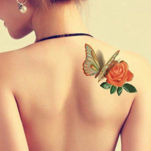 tafly-5-hojas-3d-etiqueta-engomada-impermeable-tatuaje-de-mariposa-azul-flor-de-rosa-moda-arte-corpo
