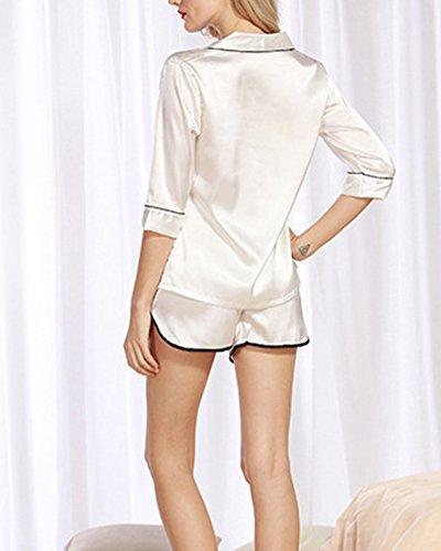 Klassischer Kurzarm-Pyjama für damen von zweiteiliger schlafanzug Weiß