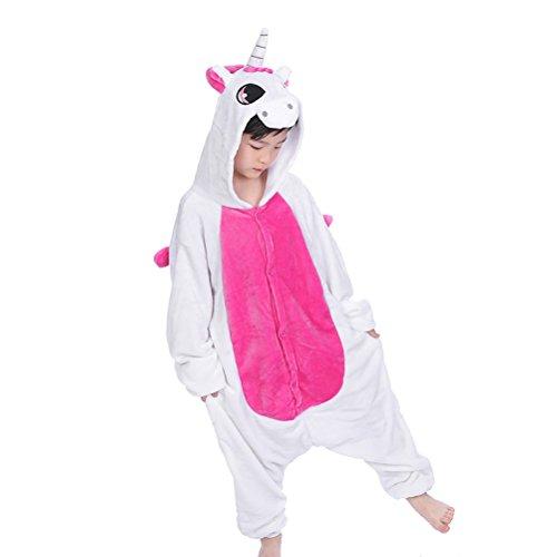 LUOEM Disfraz Unicornio Niño Kigurumi Pijama Unicornio Entero Disfraz Animale Niña Flanela Rosa Size XL 130-140cm