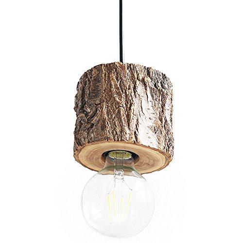 Pumpink Kreatives Design Natürliche Holz Droplight Kronleuchter Amerikanischen Nordischen Industrie Deckenleuchte Retro Persönlichkeit Bar Restaurant Clogs Baumstumpf Pendelleuchten ( Größe : Single head ) (Kleine Holz-clogs)
