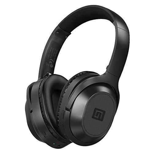 Langsdom - Auriculares con cancelación de Ruido, Auriculares Bluetooth Over Ear, HiFi estéreo inalámbricos con micrófono, 35 Horas de Tiempo de Juego para PC/móvil/TV (BT25, Negro)