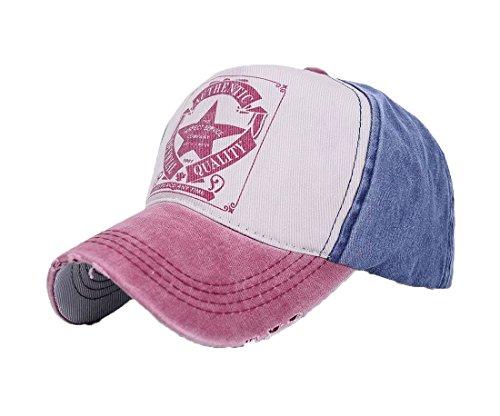 Vintage Fitted Cap (Unisex Baumwolle Baseball Cap Star Sport Mütze Baseballkappe Snap back Trucker (Nave Red peak) MFAZ Morefaz Ltd)