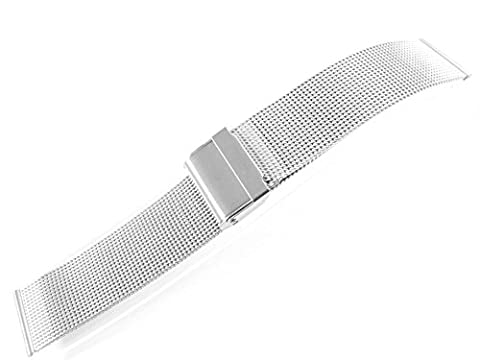24mm Stainless Steel Watch Mesh Bracelet Wristband 0.5mm Wire silver black rose gold titanium (Silver)