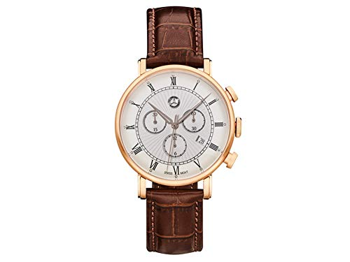 Mercedes-Benz Chronograph Men's Classic Retro Gold Rose Gold/Brown, Stainless Steel/Calfskin