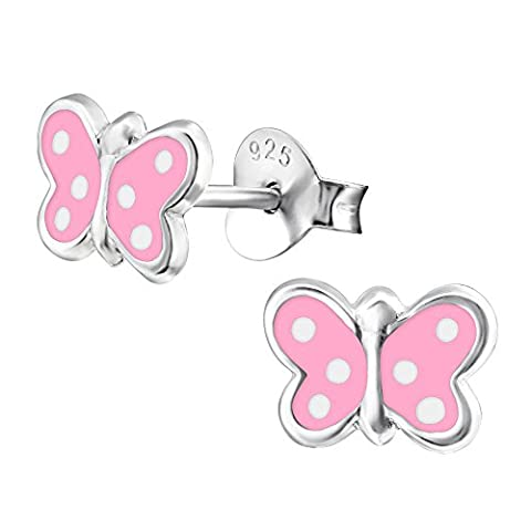 Pink Butterfly Earrings - Sterling Silver with White Polka Dots