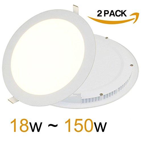 2x 18W LED Rund Panel Light 225x 225x 13mm Ultra Slim Down Light Einbauleuchte Deckenleuchte 6500K Day Weiß Beleuchtung 1440Lumen sehr hell 150W Glühlampe Ersatz [2Stück] -