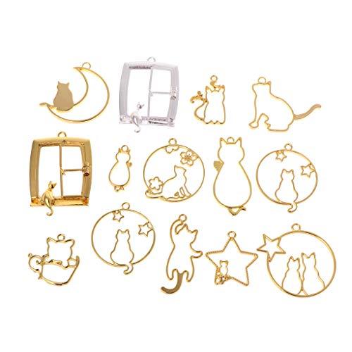 14 Unids/Set DIY Artesanía De Resina Epoxi Marco De Metal Gato Gatito Forma De La Luna De Dibujos Animados Joyería Colgante Collar UV Resina Material
