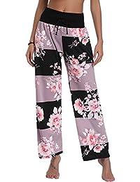 5f7173162d2 Pantalon Femme Pyjama Ample Elastique d intérieur Jogging Détente Fluide  Eté Léger Yoga Pants Grande Taille Chic Floral Imprimé Jambe…
