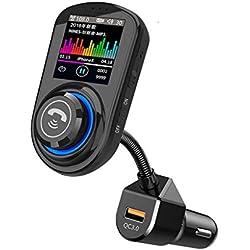 CHshe®--Voiture Bluetooth, Émetteur Fm Pour Autoradio, Lecteur Audio Mp3, Écran Mains Libres Bluetooth Lcd Émetteur Fm Pour Voiture, Lecteur Mp3 Bt5.0