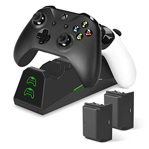 innoAura Xbox One Controller Ladegerät, Dual Slot Docking / Ladestation mit 2 x 1800mAh Akkupacks für Xbox One (S) / X / Elite Controller