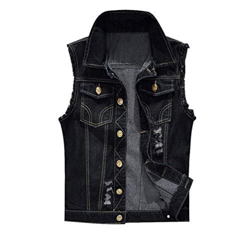 ken-Weste-Mann-Denim-Jeans-Weste-männlicher Cowboy Outdoors Waistcoat Mens Jacken Style 1 L ()