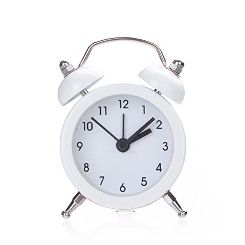 Uhr,Binggong Twin Bell Silent Alloy Edelstahl Wecker Pocket Mini Metall Digital Wecker Student Home Pure Farbe Wecker (7.3 cm * 5.2 cm * 2.0 cm, Weiß)