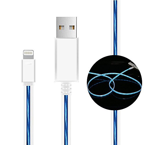 cdycam 8 Pin USB Daten Sync Kabel Sichtbar Intelligente Flash Fließende Elektrolumineszenz-Folie für iPhone 5/5S/6/6Plus/7/7plus/8/8plus/ X ; iPad Mini &iPad4 Ladegerät Adapter LED Light Line - Ipad Apple Draht Von Usb-ladegerät