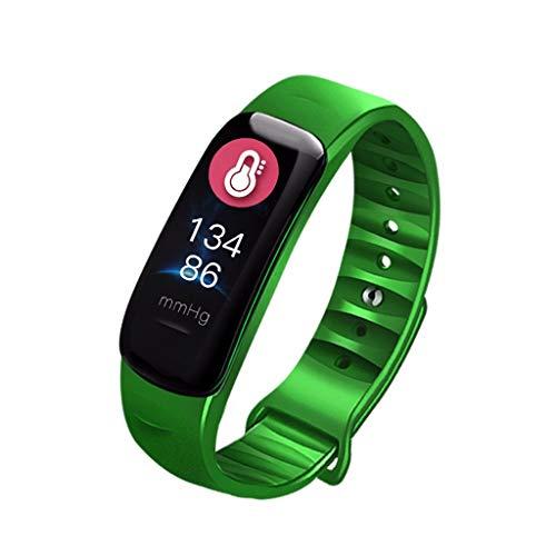 SoonerQuicker Smartwatch Damen Android Smart Watch Sport Fitness Aktivität Herzfrequenz-Tracker Blutdruck Kalorien Grün one size