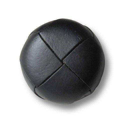 (1296sc) - 4er Set ganz klassische, schwarze Lederknöpfe in zeitlosem Flechtdesign. Perfektes Accessoire für Lederjacken, Ledermäntel oder Ledertaschen. Durchmesser: ca. 20mm!