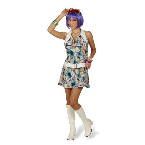 Elbenwald Seventies Hippie Mini Kleid mit Gürtel Kostüm Damen 70er Look für Fasching, Disco, Karneval - 32/34