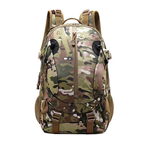 JOTHIN Nylon Armyrucksack Taktischer Rucksack Outdoor Herren Tagesrucksack Wasserdicht Sport Backpack 40L Rucksäcke für Survival Militär(Brown-1)
