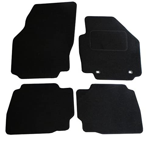 JVL Fully Tailored Car Mat Set with 2 Oval Clips - 4 Pieces, Black