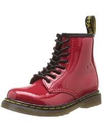 Dr. Martens INFANTS Patent RED - Zapatos con cordones de cuero infantil