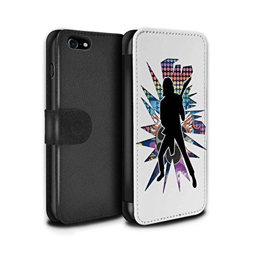 Stuff4 Coque/Etui/Housse Cuir PU Case/Cover pour Apple iPhone 7 / Chanteur Noir Design / Rock Star Pose Collection Solo Blanc