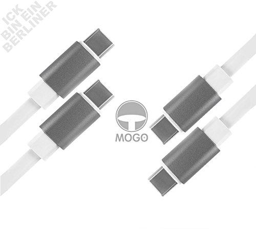 MOGO+ Designed in BERLIN / weiß / flach / 1,5 m langes USB C auf USC C-Kabel / USB Typ C / Ladekabel Datenkabel / Flachkabel-Design & hochwertigem Aluminiumgehäuse mit Schutz-Verstärkung / Space-grau