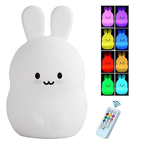 Kinder Nachtlicht mit Fernbedienung, LED Silikon Bunny Lampe, Kinder Nacht Nacht Lampe, warmes Weiß / 8-Farbwechsel Licht für Kindergarten Jungen Mädchen, USB wiederaufladbare + Fernbedienung