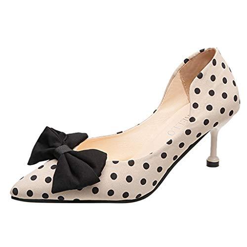 jerferr Spike Heels Frauen Tupfen Schmetterling Knoten Dünne Absätze Spitz High Heels Schuhe - Spike Heel Classic Pump