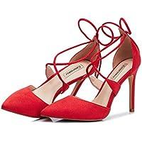 Li Ye Feng Shop Sommer sexy High Heels feine Ferse Wildleder High Heels flacher Mund einzelne Sandale Cross Riemchen...