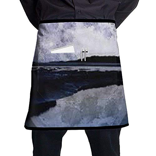 show best Deluxe Cooking Aprons, Moon Bib Aprons Classic Half-Length Long Waist Kitchen Aprons Half ()