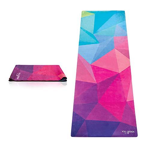 Yoga Design Lab Reise Yogamatte 1mm   Extrem leicht, Dünn, Faltbar, rutschfest, Waschbar   Guter Halt bei schweißtreibendem Sport   mit Tragegurt (Geo)