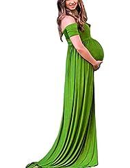 Sannysis fotografía accesorios para mujeres embarazadas, vestidos de cuello en V para mamá (Verde, XL)