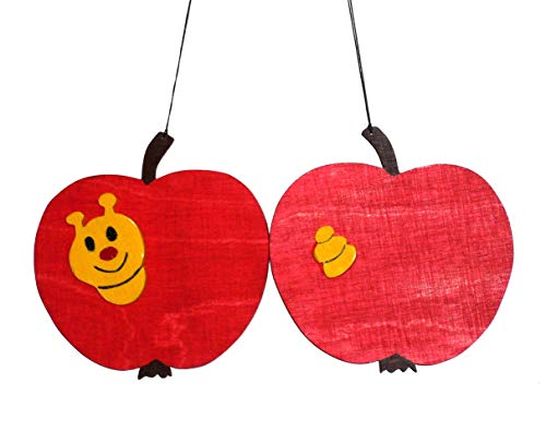 Holzmobile Apfel mit Wurm -
