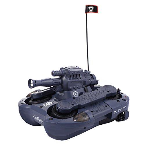 Blitzzauber 24 2,4G RC Ferngesteuerter Amphibienpanzer Amphibienauto Amphibienfahrzeug Amphibious Tank Wasser u. Land Spielzeug mit Schussfunktion (BB Kugel) (Blau)