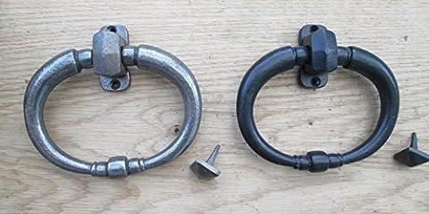 Ironmongery World® Gusseisen Country Cottage vorne Tür Ring Türklopfer, BLACK ANTIQUE