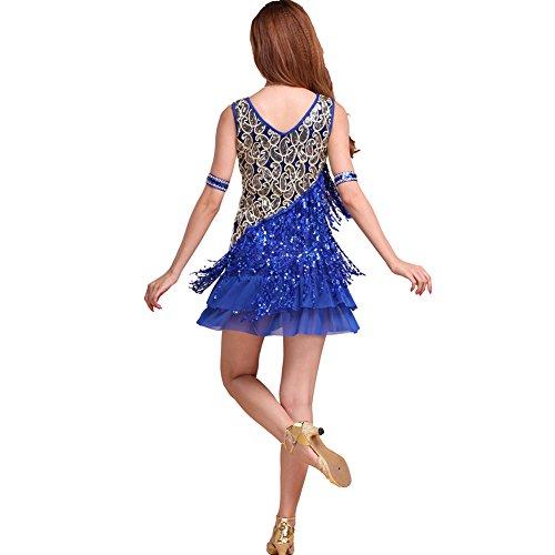 Dame Lateinischer Tango Salsa Cha Cha Ballroom Kleid Auftritte Tanzen Röcke (Pailletten & Fringe Gold Flapper Kostüme)