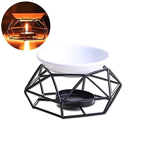 1pc Kerze Aroma Burner Aroma-Öl-Lampen-Ofen Ätherisches Öl-Brenner Eisen Rack-Keramik-Behälter Crafts für Inneneinrichtungen