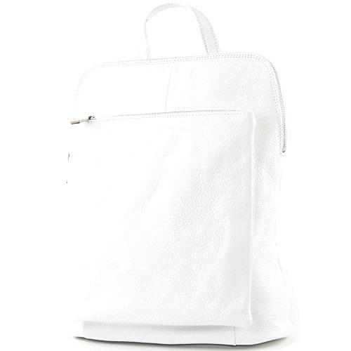 modamoda de - ital. Lederrucksack Damen Rucksack 3in1 Rucksacktasche Citytasche T141, Präzise Farbe:Weiß