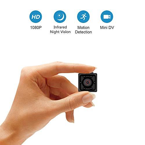 Supoggy Mini Hidden Spy Camera, Full HD 1080P Portatile Piccola videocamera HD con visione notturna, registrazione video e rilevamento del movimento per casa, auto, drone, ufficio e uso esterno