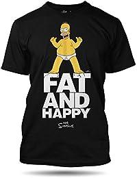 The Simpsons Fett und Gücklich Herren T-shirt, 100% Baumwolle