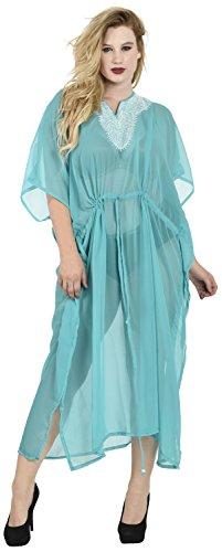 La Leela légers abruptes kimono en mousseline de soie brodées de bikini plage du cou couvrent Bleu