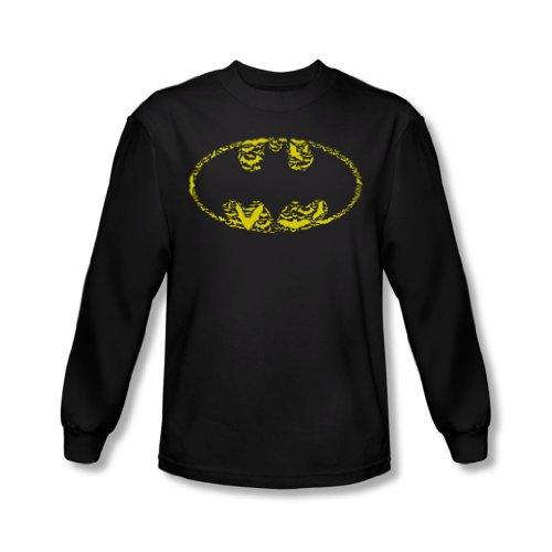 Batman - Herren Fledermäuse auf Bats Langarm-Shirt In Schwarz Black