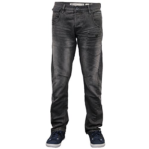 Herren Twisted Leg Konisch Regular Fit Chino Jeans By Crosshatch Grau Wash - KRACTUSDEN