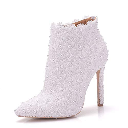 YAN Women es Shoes Lace/PU Spring & Fall Sweet Wedding Shoes Stiletto Heel Pointed Toe Booties/Ankle Boots Imitation Pearl/Satin White,White,CN36 Stiletto Heel Ankle Lace