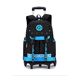 Asdomo Wheeled Backpack Rolling Backpack Luggage Unisex Trolley School Bags with Wheels Removable for Boys Girls Kids Teenagers Students